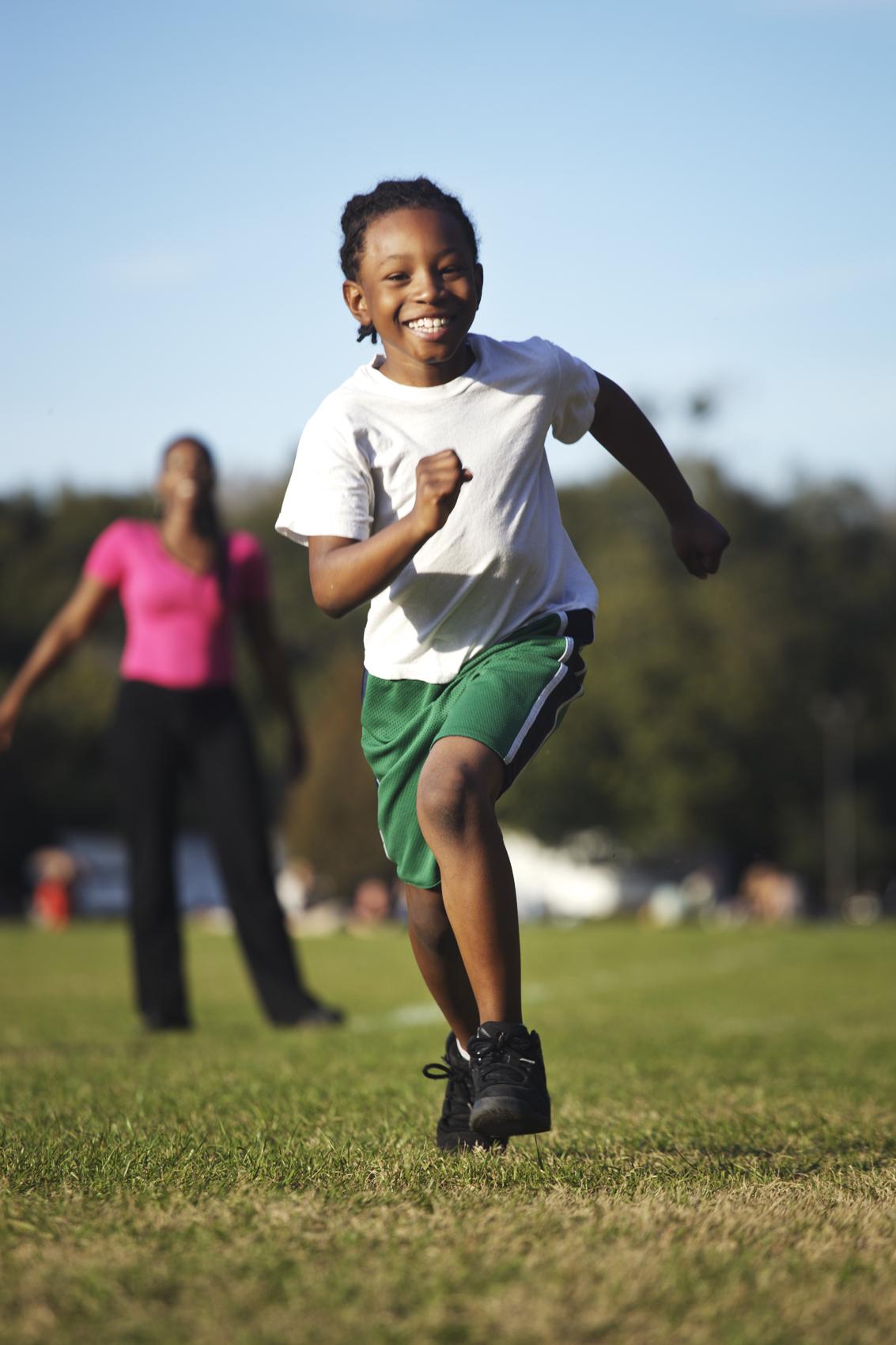 Boy Running and Having Fun